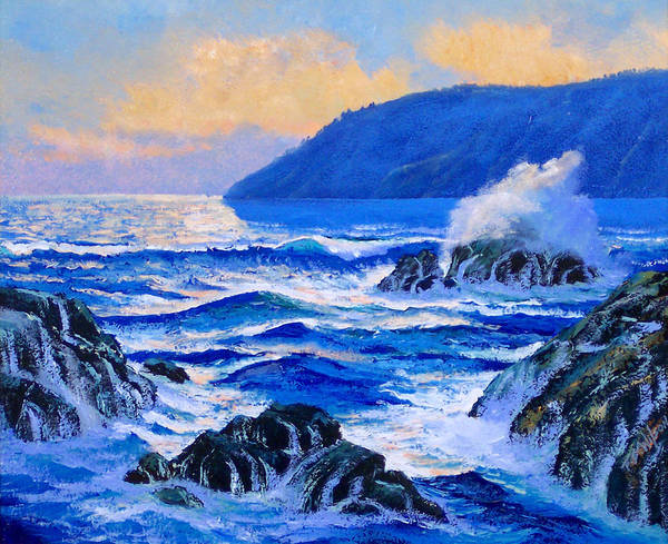 Ocean Art Print featuring the painting Pacific Sunset by Frank Wilson