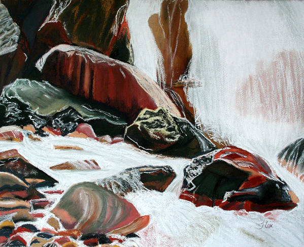 Waterfall. Red Rock Art Print featuring the painting Red Rock Waterfall. by John Cox