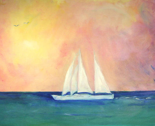 Coastal Art Print featuring the painting Sailboat - Regatta Of One by Michela Akers