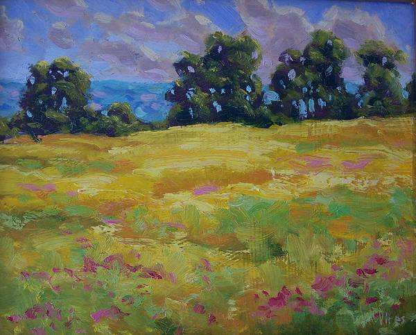Oil On Canvas Art Print featuring the painting Spring Field by Michael Vires