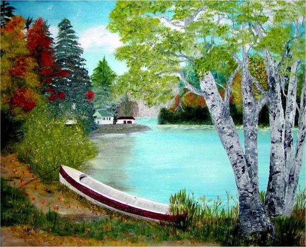 Beautiful Bracebridge Ontario Oil Painting Art Print featuring the painting Summer In The Muskoka's by Peggy Holcroft