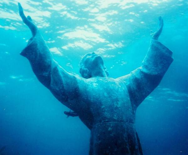 Christ Art Print featuring the photograph Christ At Sea by Renee Shular