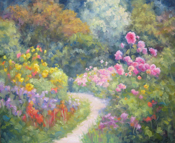 Garden Art Print featuring the painting In Monets Footsteps by Bunny Oliver
