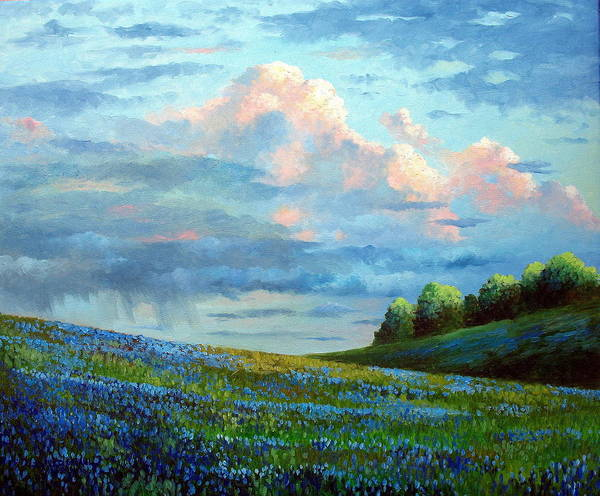 Landscape Art Print featuring the painting Evening Rain by David G Paul