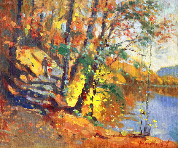 Bear Mountain Ny Art Print featuring the painting Fall In Bear Mountain by Ylli Haruni