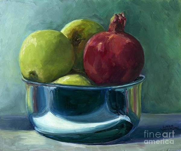 Apple Art Print featuring the painting Green Apples And A Pomegranate by Linda Vespasian