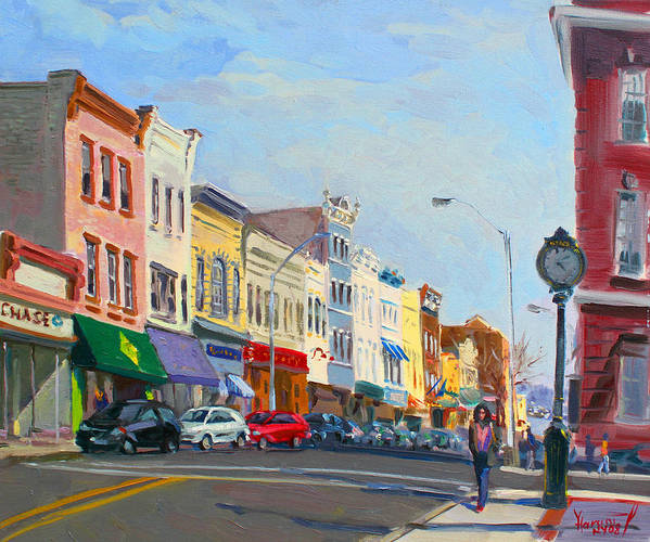 Main Street Print featuring the painting Main Street Nayck Ny by Ylli Haruni