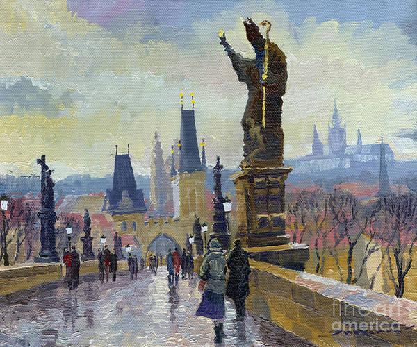 Oil On Canvas Art Print featuring the painting Prague Charles Bridge 04 by Yuriy Shevchuk