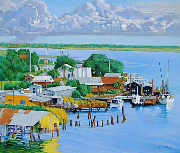Waterfront Art Print featuring the painting Apalachicola Waterfront by Neal Smith-Willow