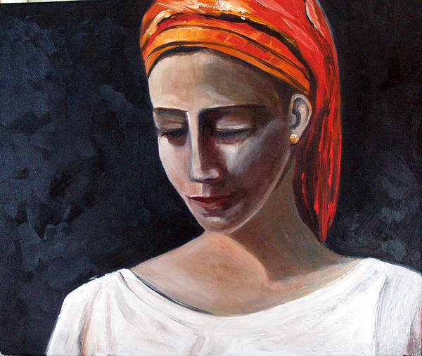 Girl Woman Portrait Red White Black Art Print featuring the painting My Soul My Temple by Niki Sands
