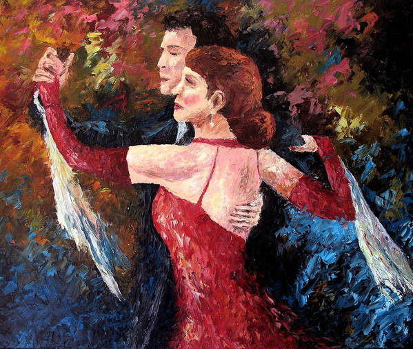 Tango Art Print featuring the painting Two To Tango by David G Paul