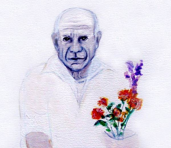 Pablo Picasso Art Print featuring the painting Primroses For Picasso by Michela Akers