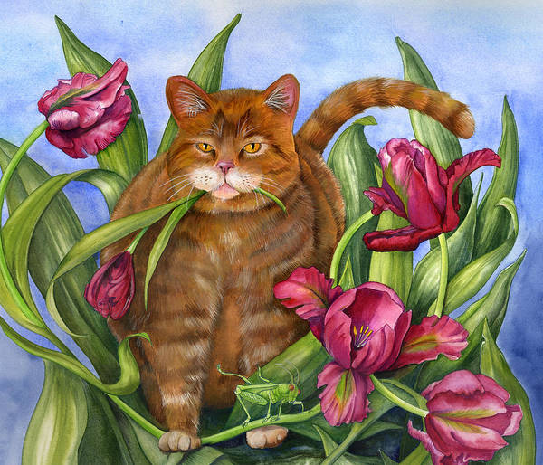 Cats Art Print featuring the painting Tango In The Tulips by Mindy Lighthipe