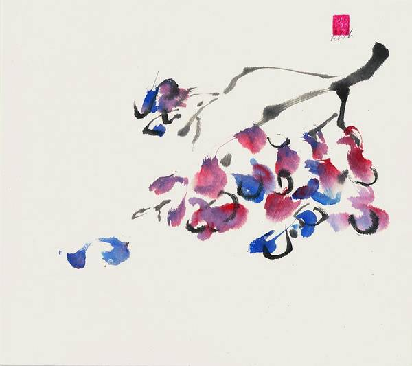 Sumi-e Art Print featuring the painting Grapes by Lilith Ohan