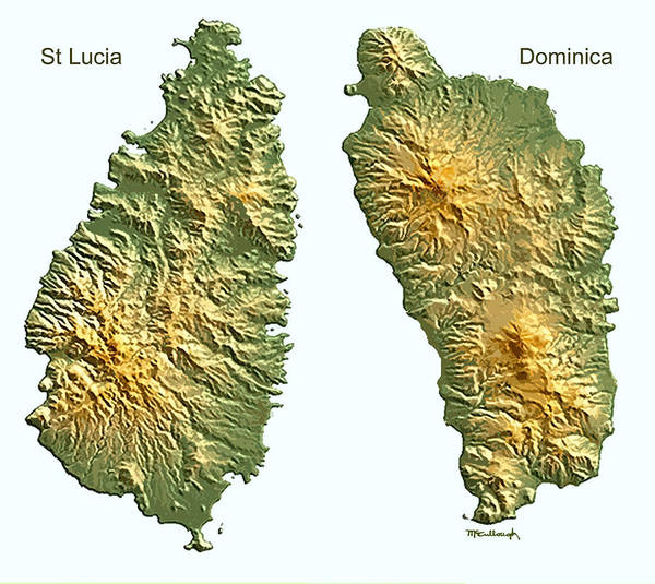 St Lucia And Dominica Map Art Print by Duane McCullough