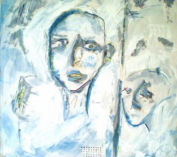 Portraits Art Print featuring the painting Divided by Kime Einhorn