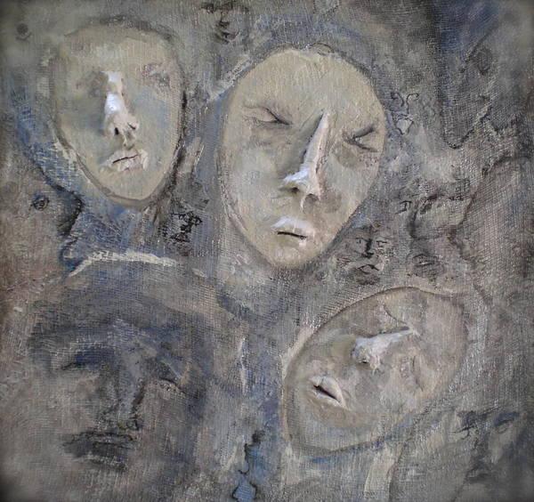 Faces Art Print featuring the painting Dissociative by Kime Einhorn