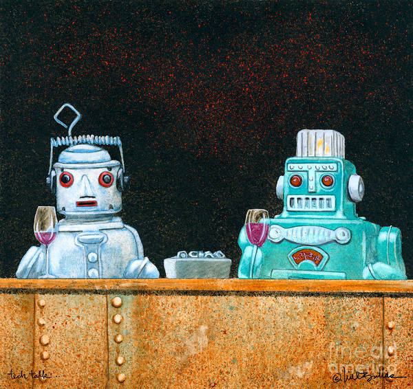 Will Bullas Art Print featuring the painting Tech Talk... by Will Bullas