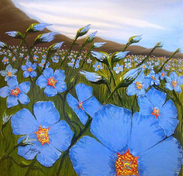 Beautiful Blue Flax Flowers! Art Print featuring the painting Cloudy Day Blues by Portland Art Creations