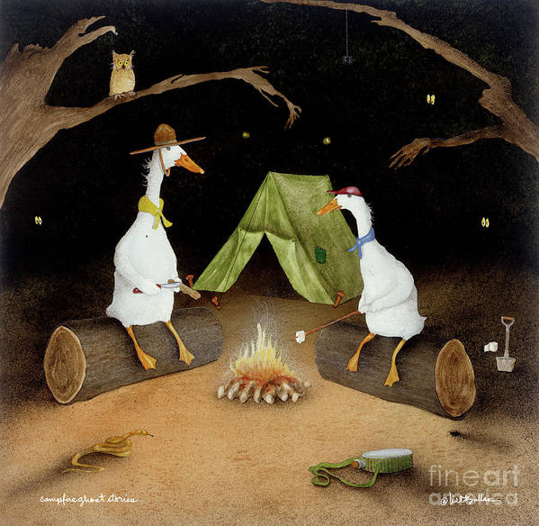 Will Bullas Art Print featuring the painting Campfire Ghost Stories by Will Bullas
