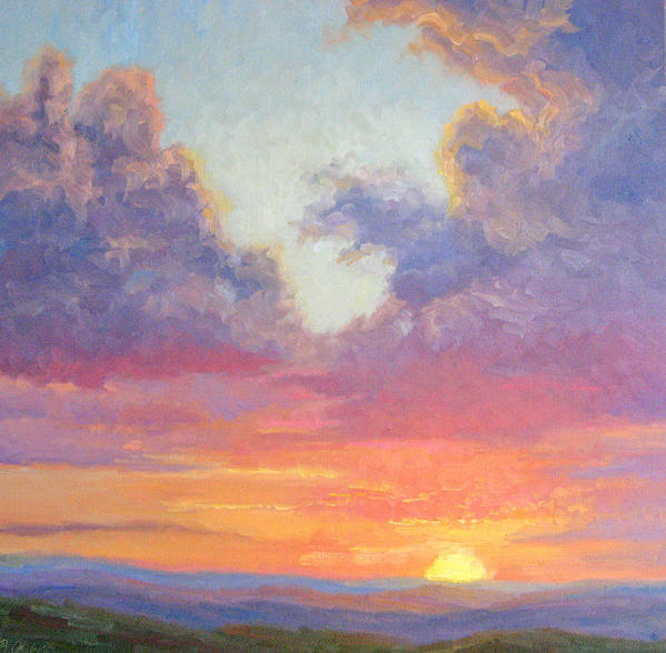 Sunset Art Print featuring the painting Glory Of The Western Sky by Bunny Oliver