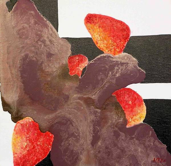 Art Print featuring the painting Strawberry In Chocolate by Evguenia Men