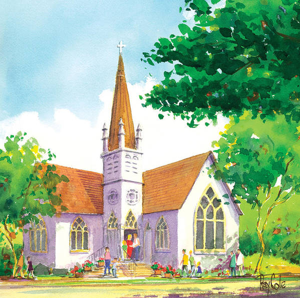 Church Art Print featuring the painting Carpinteria Valley Baptist Church by Ray Cole