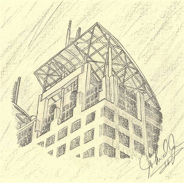 Buildings Art Print featuring the drawing Mobile Courthouse by John Jones