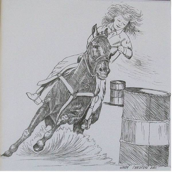 Black And Grey Black Poster Art Print featuring the drawing The Barrel Racer by Wanda Dansereau