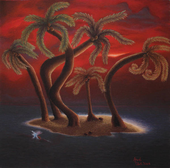 Palm Trees Art Print featuring the pastel Dance Of The Coconut Palms by Amanda Clark