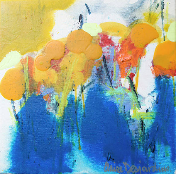 Abstract Art Print featuring the painting Little Garden 02 by Claire Desjardins