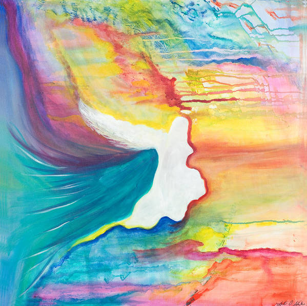 Angels Art Print featuring the painting Rainbow Angel by Leti C Stiles