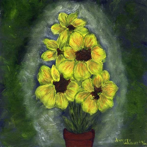 Flowers Art Print featuring the painting Sunflower Season - Www.jennifer-d-art.com by Jennifer Skalecke