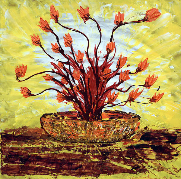 Red Bush Art Print featuring the painting The Burning Bush by J R Seymour