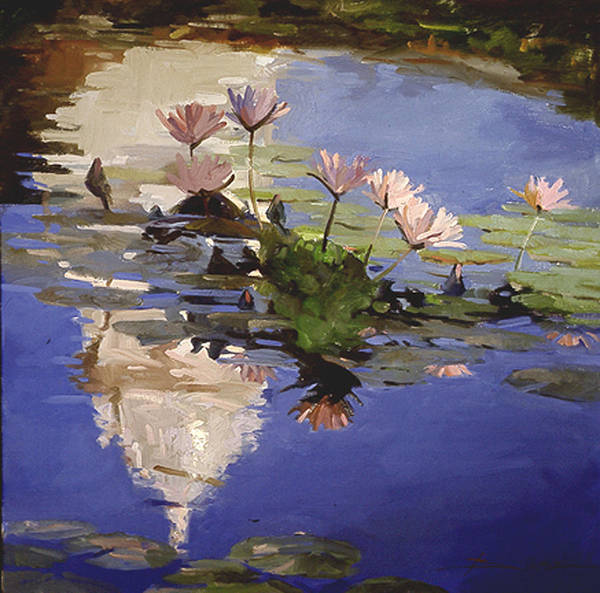 Water Lilies Art Print featuring the painting The Dome - Water Lilies by Betty Jean Billups