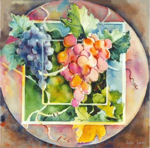 Vineyard Grapes Art Print featuring the painting Vineyard by Joan Jones