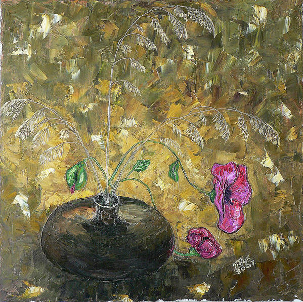 Still Life Art Print featuring the painting Wheat And Poppy by Mila Ryk