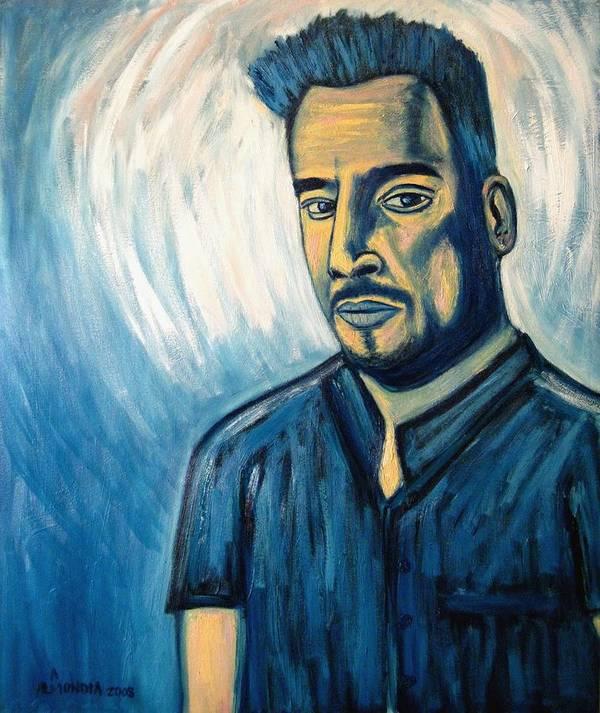 Figure Art Print featuring the painting Self Portrait 2008 by Albert Almondia