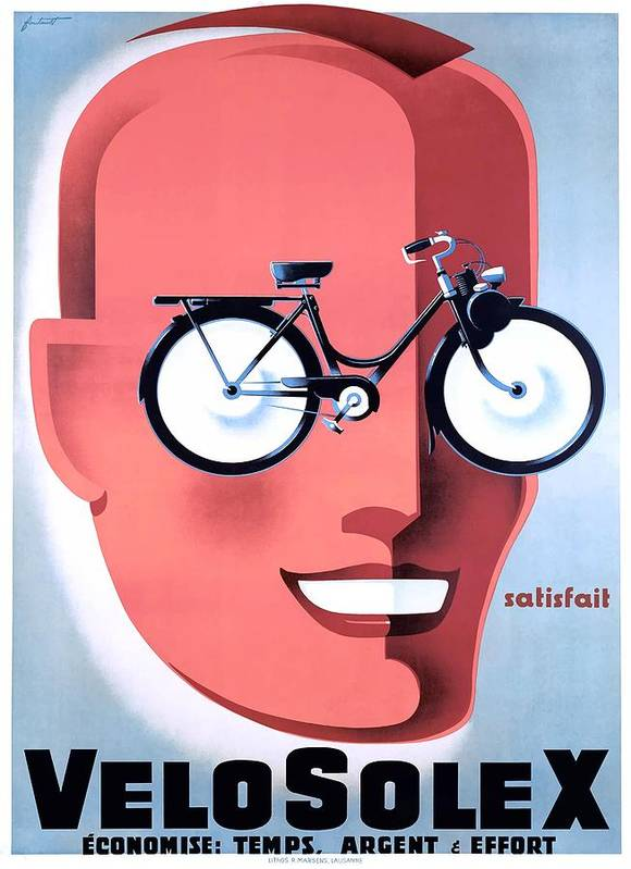 1959 VeloSolex Powered Bicycle French Advertising Poster by Retro Graphics