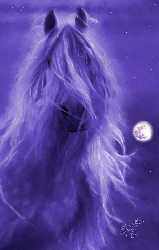 Purple Art Print featuring the painting After Midnight by Elzire S