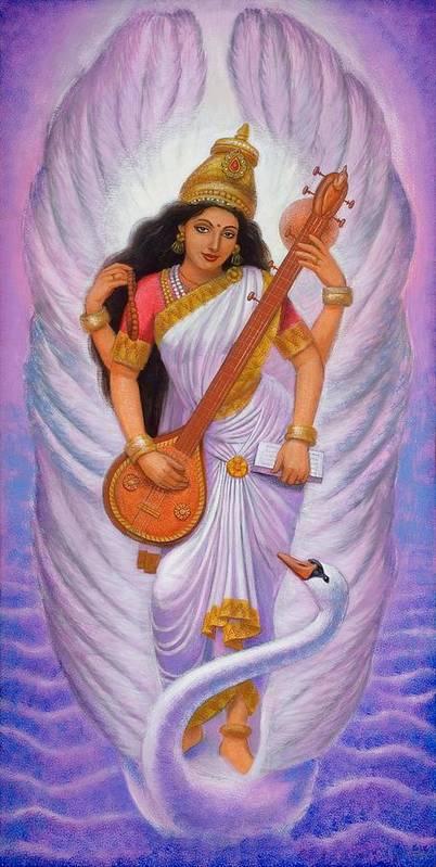 Saraswati Art Print featuring the painting Goddess Saraswati by Sue Halstenberg