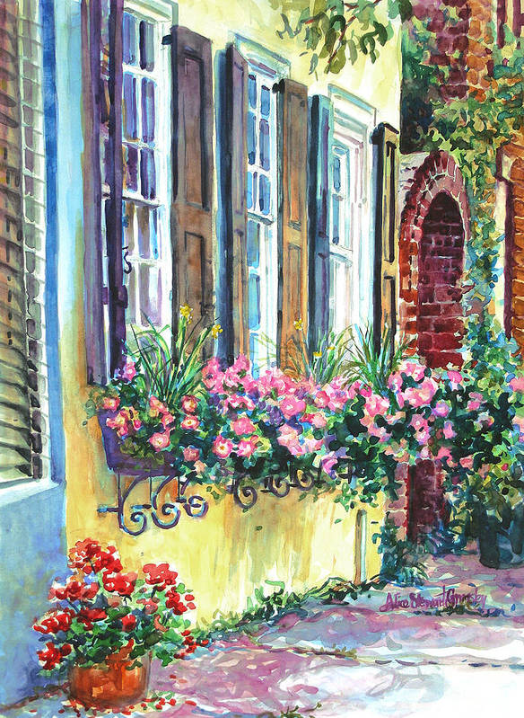 Charleston Art Print featuring the painting Church Street Textures by Alice Grimsley