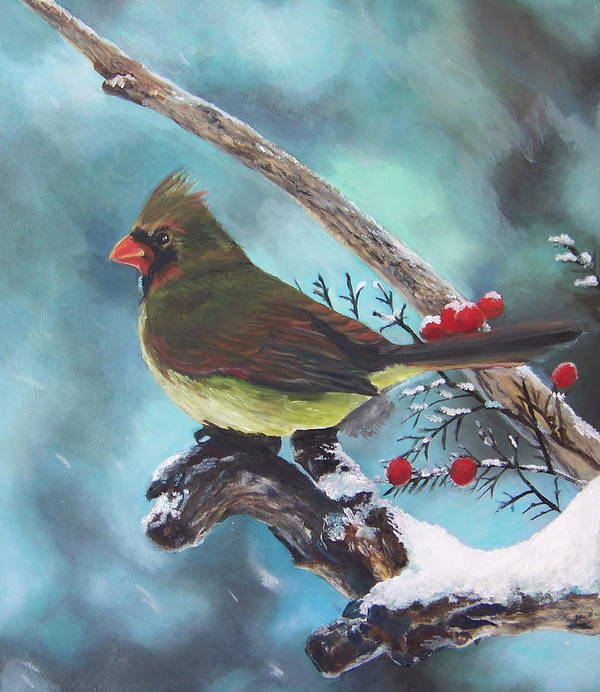 Female Northern Cardinal Art Print featuring the painting Cardinal Queen by Audrie Sumner