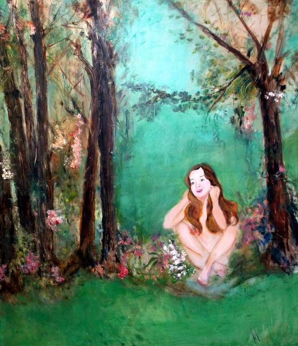 Young Girl Art Print featuring the painting The Song by Michela Akers