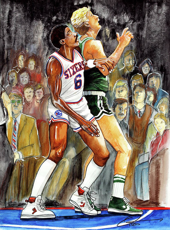 Larry Bird Print featuring the painting Dr.j Vs. Larry Bird by Dave Olsen