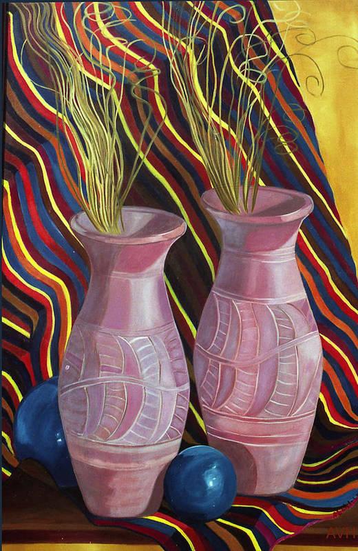 Still Life Art Print featuring the painting Purple Vases by Antoaneta Melnikova- Hillman