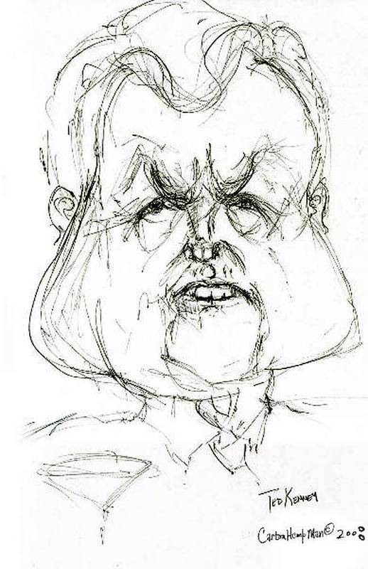 Political Cartoon Kennedy Graphite Paper Satire Art Print featuring the drawing Ted Kennedy by Cartoon Hempman