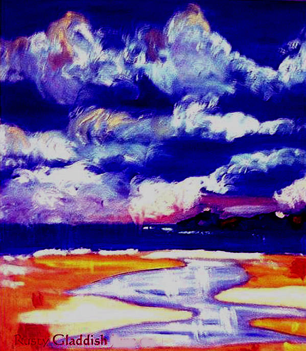 Seascape Art Print featuring the painting Nimbus Clouds Over Mumbles by Rusty Gladdish