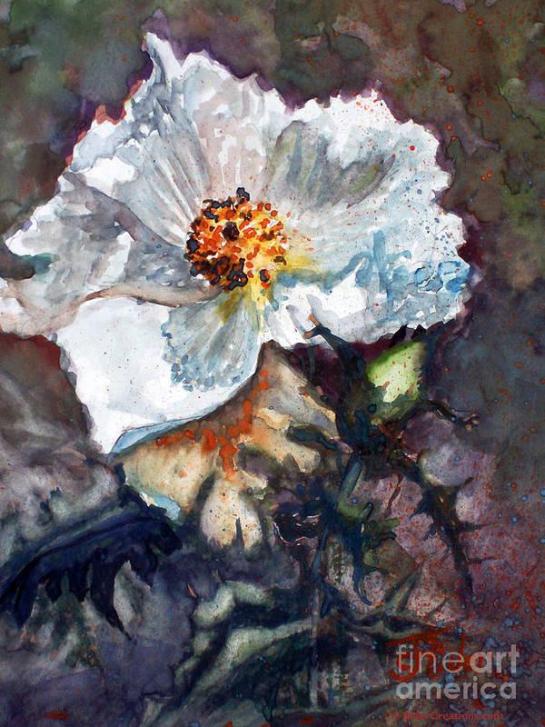 Desert Art Print featuring the painting Desert Prickly Poppy by CJ Rider