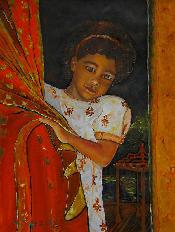 Oil On Canvas Art Print featuring the painting Indian Girl by Ken Caffey
